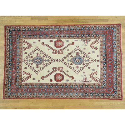 One-of-a-Kind Hoffman Geometric Kazak Hand-Knotted Wool Ivory/Red Area Rug