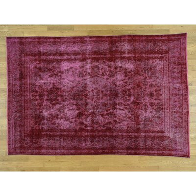 One-of-a-Kind Overbay Overdyed Tabriz Vintage Hand-Knotted Wool Pink Area Rug