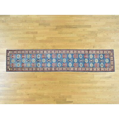 One-of-a-Kind Sanjuana Kazak Hand-Knotted Wool Denim Blue Area Rug