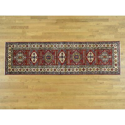 One-of-a-Kind Kazak Super Hand-Knotted Wool Red Area Rug