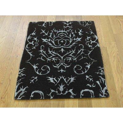 One-of-a-Kind Krehbiel Modern Damask Hand-Knotted Wool Black Area Rug
