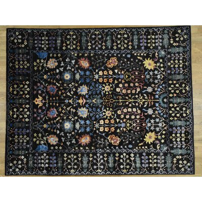 Dyess One-of-a-Kind Arts and Crafts Hand-Knotted Wool Black Area Rug