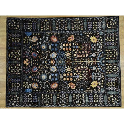 One-of-a-Kind Dyess Arts and Crafts Hand-Knotted Wool Black Area Rug