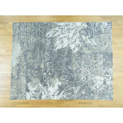 One-of-a-Kind Despres Modern Abstract Hand-Knotted Wool Gray/Green Area Rug