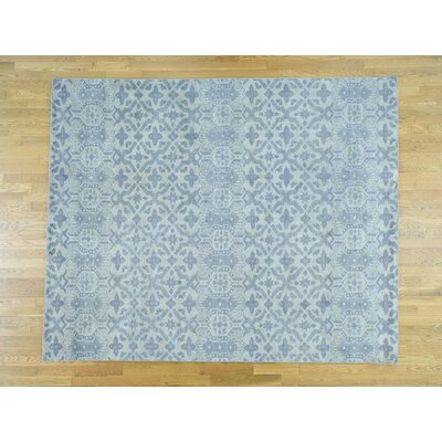One-of-a-Kind Dorcey Hand-Knotted Wool Blue Area Rug