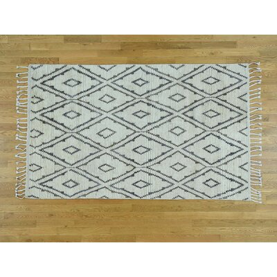 One-of-a-Kind Morocca Berber Hannd-Knotted Wool Ivory Area Rug
