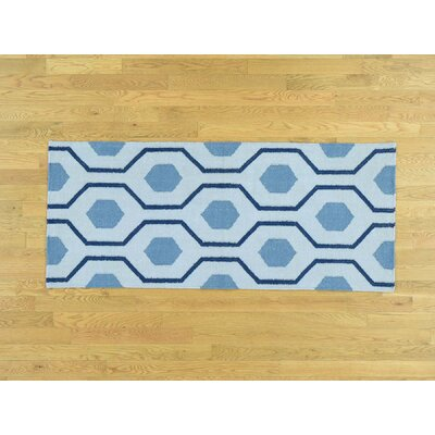 One-of-a-Kind Zeiger Flat Weave Reversible Hand-Knotted Wool Blue Area Rug