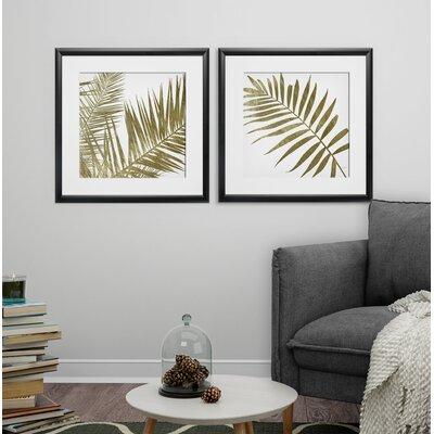 'Golden Frond' 2 Piece Framed Graphic Art Print Set Format: Black Framed