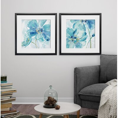'Blue Spring Poppy I' 2 Piece Framed Print Set Format: Black Framed 524D41A9111449EEAB840471BE9D3169