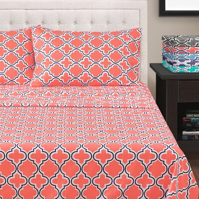 LePoidevin Printed Trellis Microfiber Sheet Set Color: Coral, Size: Full/Double