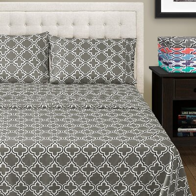 LePoidevin Printed Trellis Microfiber Sheet Set Color: Gray, Size: California King