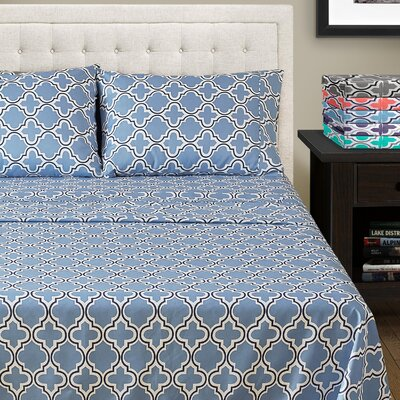LePoidevin Printed Trellis Microfiber Sheet Set Color: Light Blue, Size: Queen