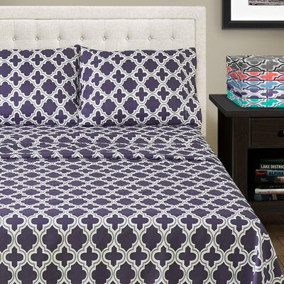 LePoidevin Printed Trellis Microfiber Sheet Set Color: Navy Blue, Size: Full/Double