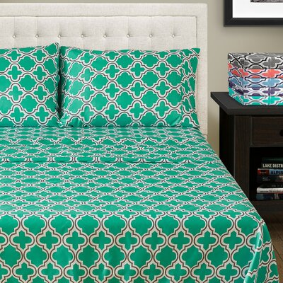 LePoidevin Printed Trellis Microfiber Sheet Set Color: Teal, Size: California King