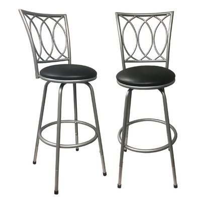 Cataldo Adjustable Height Swivel Bar Stool Color: Silver
