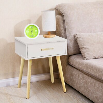 Clauson Modern 1 Drawer Nightstand Color: White
