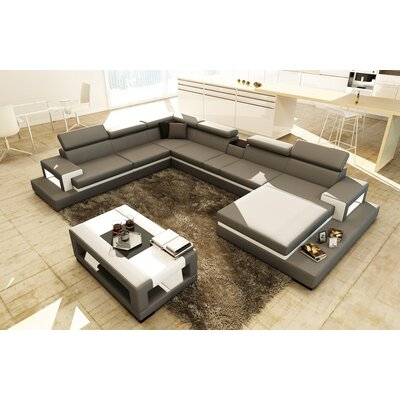 Sophia Sectional Upholstery: Leather Match Gray, Orientation: Right Hand Facing
