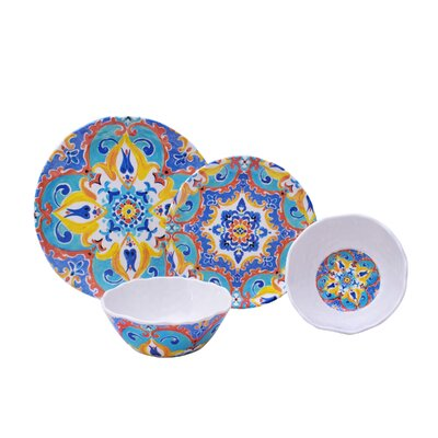 Romella 12 Piece Melamine Dinnerware Set, Service for 4