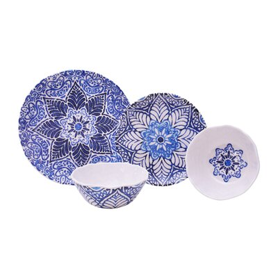 Rustic Medallion 12 Piece Melamine Dinnerware Set, Service for 4