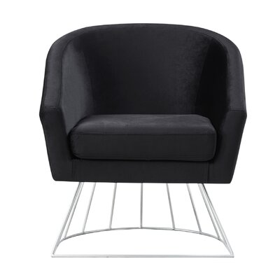 Hirano Barrel Accent Chair Upholstery: Black/Silver