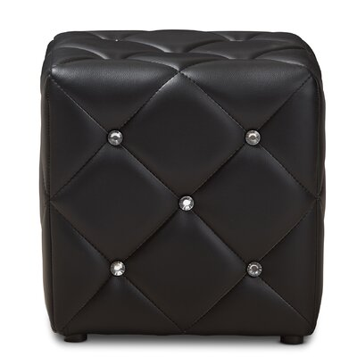 Michels Modern and Contemporary Cube Ottoman Upholstery Color: Black
