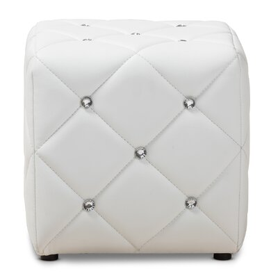Michels Modern and Contemporary Cube Ottoman Upholstery Color: White