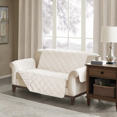Floral Cotton Printed Reversible Box Cushion Loveseat Slipcover Upholstery: Polyester Solid Champagne
