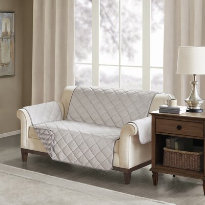 Floral Cotton Printed Reversible Box Cushion Loveseat Slipcover Upholstery: Polyester Solid Gray