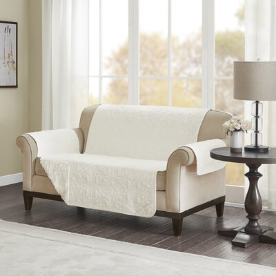 Floral Cotton Printed Reversible Box Cushion Loveseat Slipcover Upholstery: Polyester Damask Ivory