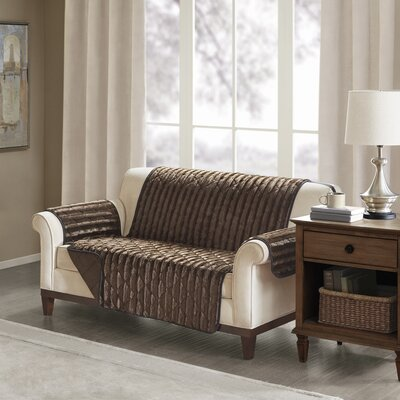 Floral Cotton Printed Reversible Box Cushion Loveseat Slipcover Upholstery: Polyester Solid Chocolate