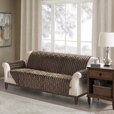 Floral Cotton Printed Reversible Box Cushion Sofa Slipcover Upholstery: Polyester Solid Chocolate