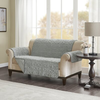 Floral Cotton Printed Reversible Box Cushion Loveseat Slipcover Upholstery: Polyester Damask Gray