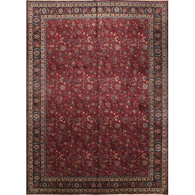 Persian Mashad Hand-Knotted Wool Red Area Rug