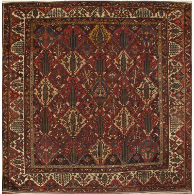 Persian Bakhtiari Hand-Knotted Wool Red Area Rug