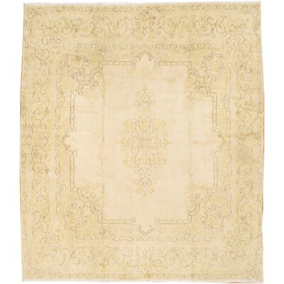 Persian Kerman Hand-Knotted Wool Beige Area Rug