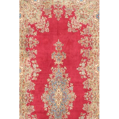 Persian Royal Kerman Hand-Knotted Wool Red Area Rug