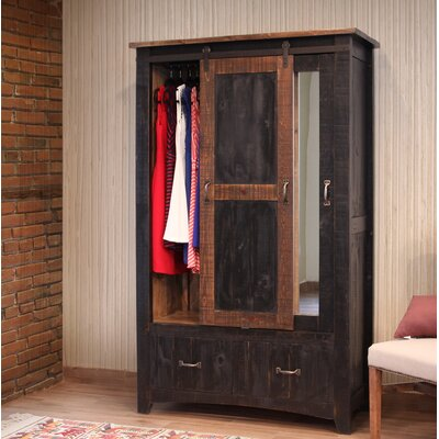 Pueblo 1 Door Armoire Color: Black