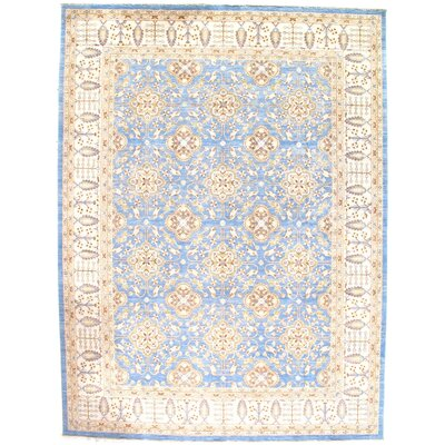 Persian Tabriz Hand-Knotted Wool Light Blue Area Rug