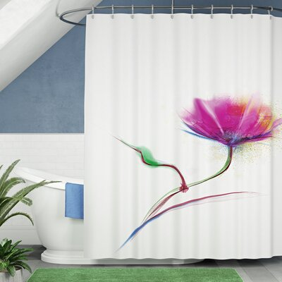 Acevedo Simplistic Poppy Design Purity and Grace Symbol Splattered Image Shower Curtain Size: 69