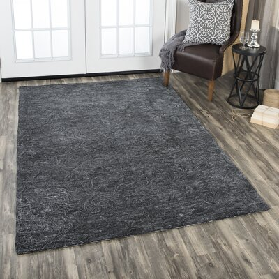 Etheredge Hand-Tufted Wool Dark Gray Area Rug Rug Size: Rectangle 8 x 10