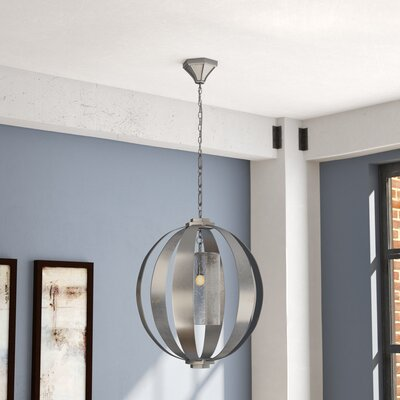 Damiane 1-Light Globe Pendant Finish: Vintage Silver Leaf