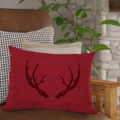 Adorno Antlers Inverted Lumbar Pillow Color: Red
