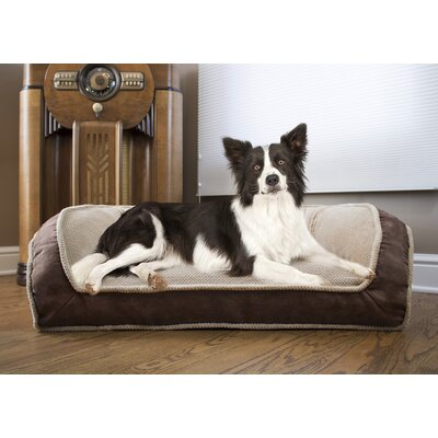 Deep Seated Lounger Dog Sofa Size: Large (40 W x 25 D x 13 H), Color: Chocolate Brown