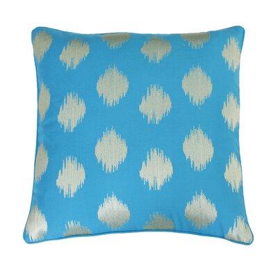 Petti Metallic Ikat Embroidered Throw Pillow Color: Capri Breeze and Gold