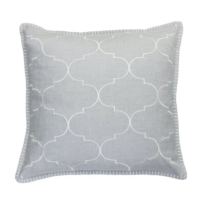 Eltingville Whipstitch Embroidered Throw Pillow  Color: Silver