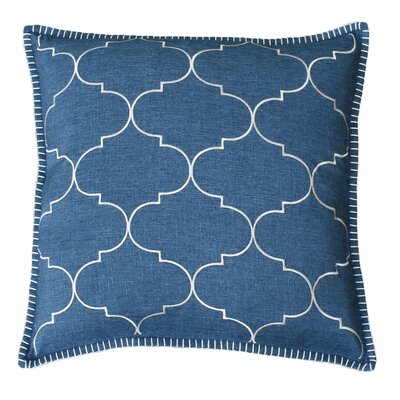 Eltingville Whipstitch Embroidered Throw Pillow  Color: Stellar Teal and Silver
