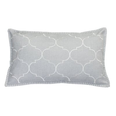 Eltingville Whipstitch Embroidered Lumbar Pillow Color: Silver