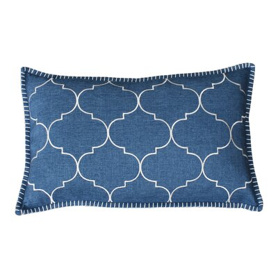 Eltingville Whipstitch Embroidered Lumbar Pillow Color: Stellar Teal and Silver