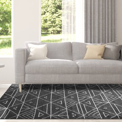 Cressex Hand-Woven Charcoal Area Rug Rug Size: Rectangle 9 x 12