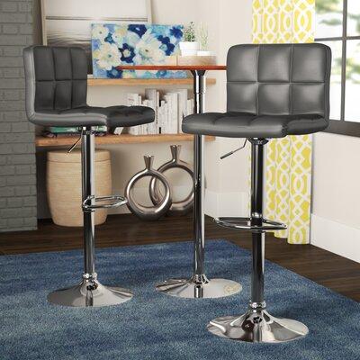 Winford Adjustable Height Swivel Bar Stool Upholstery: Black